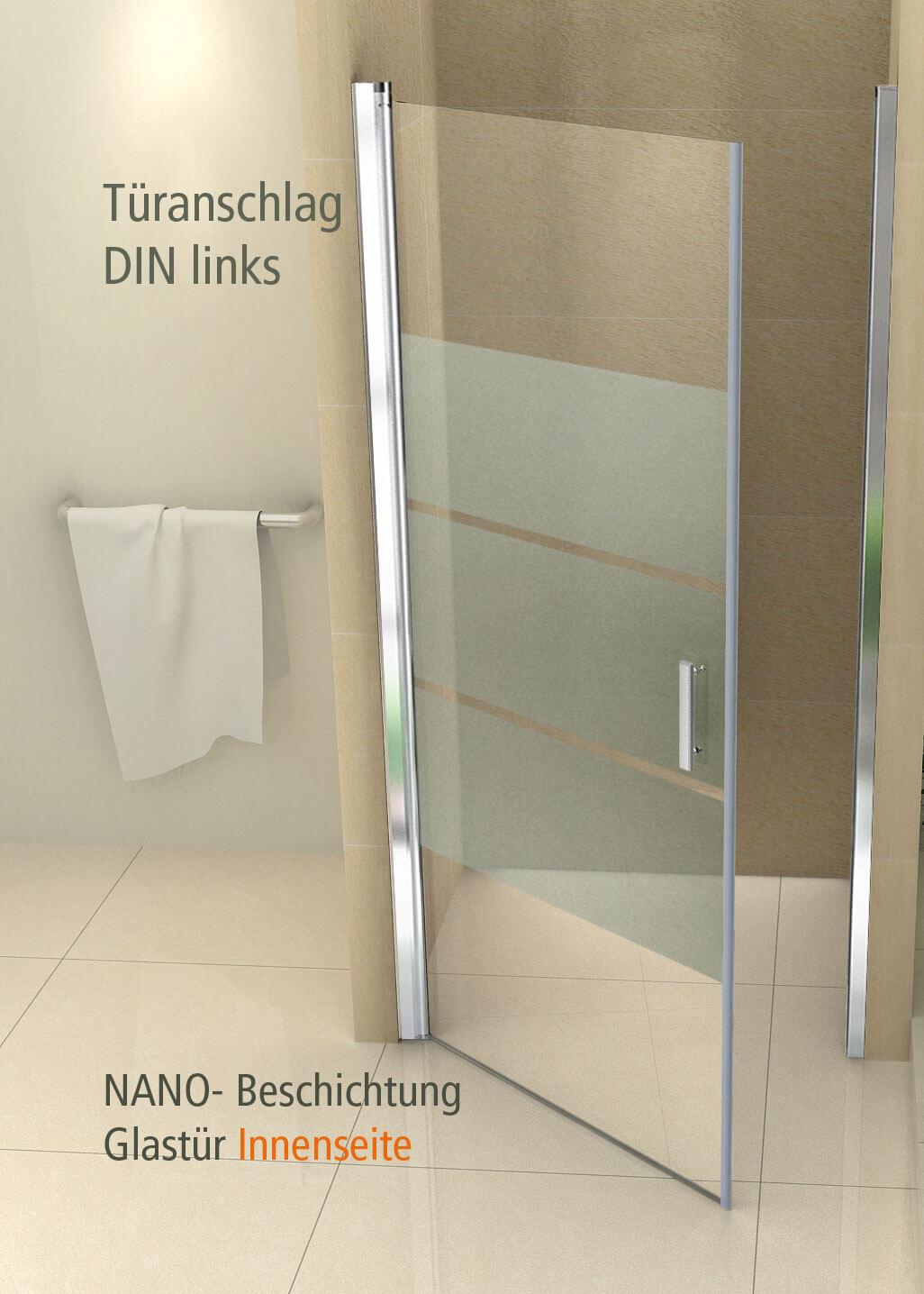 Favorit Duschtür 80cm rahmenlos✓ Streifen✓ Nano   Duschen24.de OO89