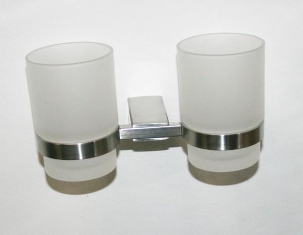Zahnputzbecher Set aus satiniertem Glas Edelstahlhalter