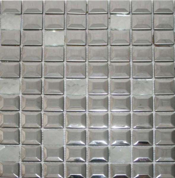 Edelstahl Glas Mosaik Fliesen 30x30 cm poliert