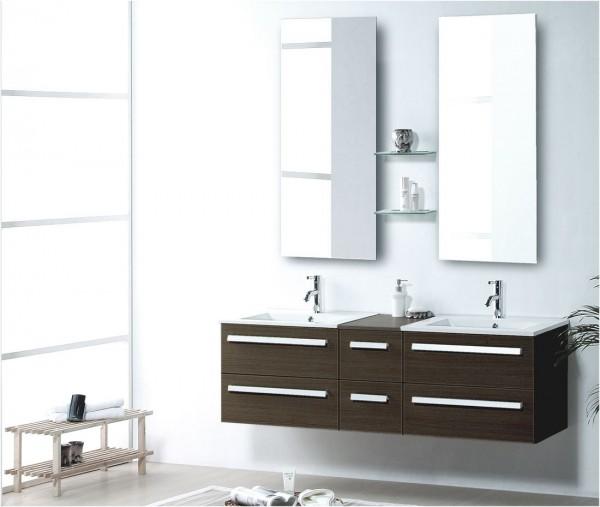 badm bel set braun mit 2 keramikbecken. Black Bedroom Furniture Sets. Home Design Ideas