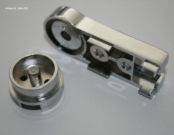 Scharnier komplett mit Glashalter für Duschtüren OBEN Variante B